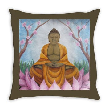 Buddha - Throw Pillow of Acrylic Paint and Watercolor Pencil Fine Art