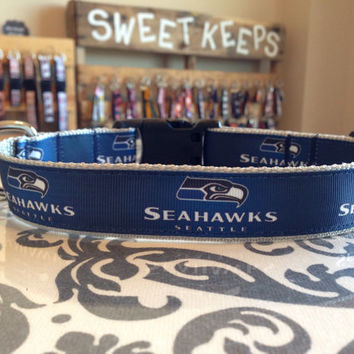 Dog Collar Made from Seattle Seahawk Inspired Ribbon
