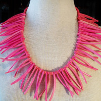 Vintage Pink Spike Necklace Retro Tribal Jewelry Tropical Vacation Statement Piece Fashion Accessories