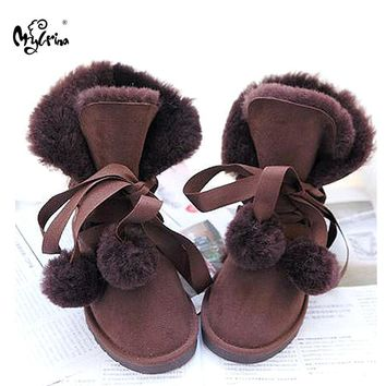 MYLRINA  2017 New Fashion Women Snow Boots Warm Wool Boots 100% Natural Fur Winter Boots Genuine Sheepskin Leather Women Boots