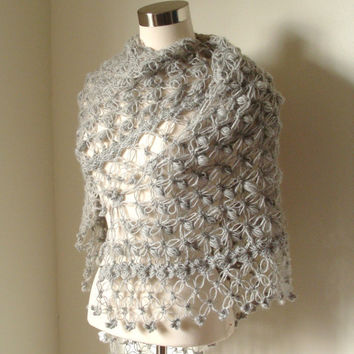 Misty Grey Shawl by MODAcrochet on Etsy