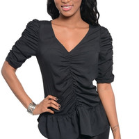 Ruched Short Sleeve Knit Top