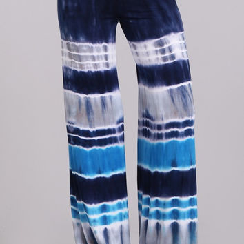 Blue Gray White Color Block Striped Tie Dye Palazzo Pants PRE-ORDER