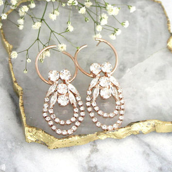 Hoop Earrings, Bridal Hoop Earrings, Oversize Earrings, Bridal Crystal Earrings, Statement Bridal Earrings, Gold Earrings, Bridal Big Hoops