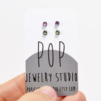 Tea in the Forest Set, Teeny Tiny Stud Earrings, Handmade Jewelry, Accessories