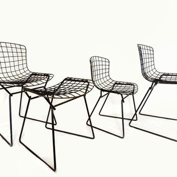 Knoll BERTOIA Wire Child & Toddler Chairs Plus RARE Child's Ottoman 4 pc Set 60s MODERN