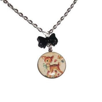 Baby Deer Necklace, Retro Kitsch Jewelry, Black Bow, Butterflies