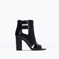 Cut-out leather bootie