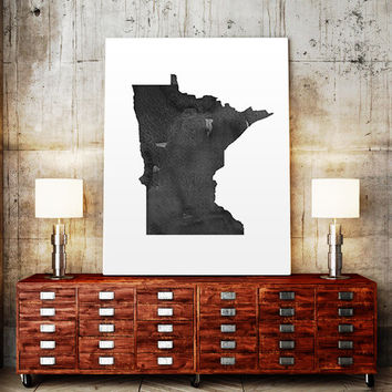 USA MAP PRINTABLE Minnesota watercolor Iowa print Minnesota state silhouette Minnesota map Minnesota printable Minnesota wall art Usa Map