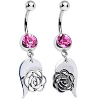 Pink Gem Garden Rose Joined Heart Best Friends Dangle Belly Ring Set