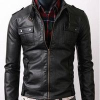 handmade Men Black Leather Jacket men black leather by ukmerchant