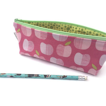 Pink Apple Pencil Case - Zipper Pouch - Art Supply Organizer - Pink Pencils - Girls Make-Up Bag - School Supplies - Zip Pouch Teacher