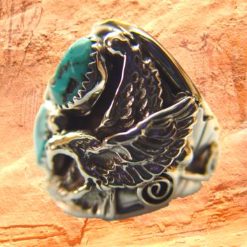 Navajo Kingman Turquoise Men's Ring with Eagle