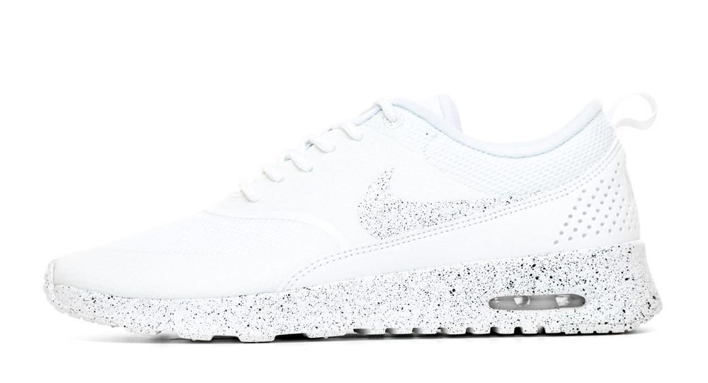 Nike Air Max Thea Running Shoes By Glitter Kicks - Triple White Black Paint  Speckle a58de56e8