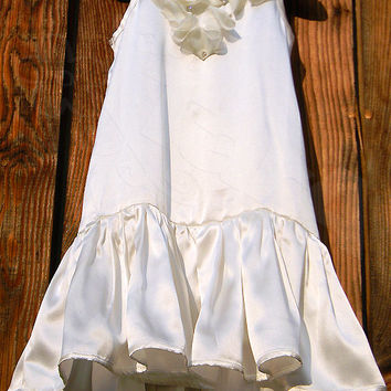 Pure silk ivory flower girl dress for little girls with Swarovski crystals, size 1- 6 years