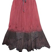 Mogul Interior Womens Skirt Red/Brown Stonewashed Embroidered Renaissance Gypsy Skirts