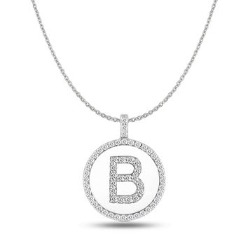 """B"" Diamond Initial  14K White Gold Disk Pendant (0.60ct)"