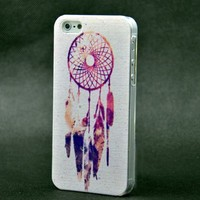 Chalier Purple Dreamcatcher Aztec Mayan Pattern Clear Snap On Case iPhone 5