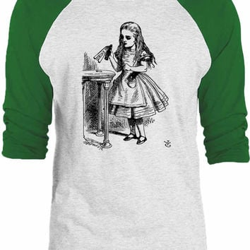 Big Texas Alice in Wonderland - Drink Me 3/4-Sleeve Raglan Baseball T-Shirt