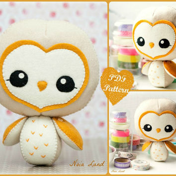PDF. Barn owl.  Softie Pattern, Soft felt Toy Pattern.