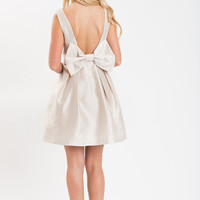 Blaire Light Taupe Bow Back Dress