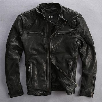 Factory 2016 Men's Genuine Leather Jacket Man Vegetable tanned Sheepskin Slim Fit Bomber Motorcycle Biker Jackets Jaqueta