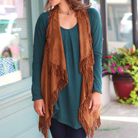 Fringe with Benefits Vest {Brown}
