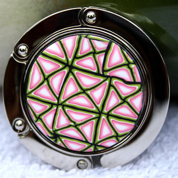Purse hanger, purse hook, polymer clay covered, geometric design cane, pink, green and white triangles