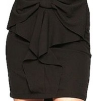 Short Black Skirt with Bow in Front