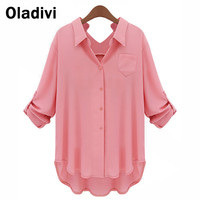 XXXXXL Plus Size Women Chiffon Blouse Shirt Long Sleeve Turn Down Collar Solid Color Tops Female Work Wear Big Size Clothing 5XL