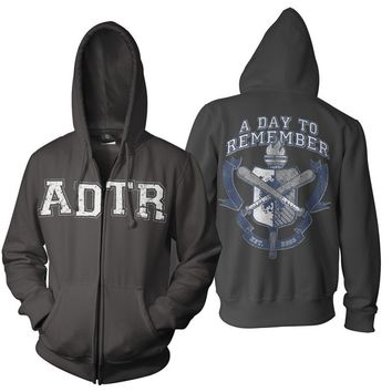 A Day To Remember: University Zip Up Hoodie (Black)