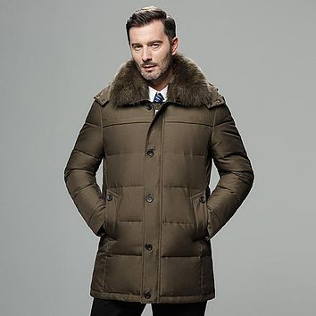 Men's Real Fur Collar Hooded Jackets Thick Duck Down Cardigan Jacket Coat