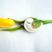 Bird felt ornament, white, green potted wings, handmade, Birthday gift, home decor, Easter, Spring decoration