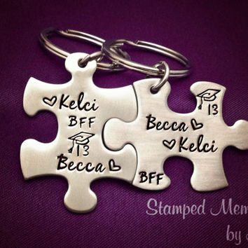 Best Friends Graduation Key Chain Set - Hand Stamped Stainless Steel - Matching, Interlocking Puzzle Pieces - Grad Gift for BFF