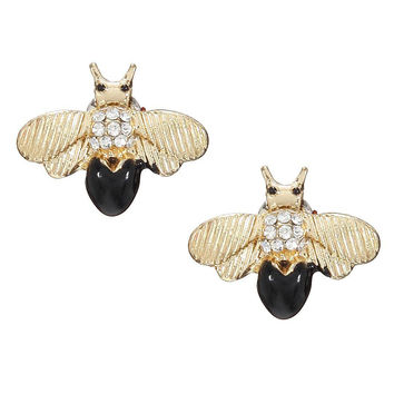 Multicolor Shiny Bee Stud Earrings