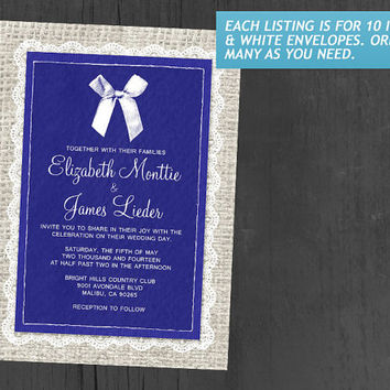 Royal Blue Country Burlap Wedding Invitations | Invites | Invitation Cards