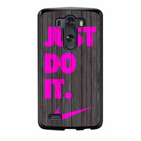 Nike Just Do It Wood Colored Darkwood Wooden Pink LG G3 Case