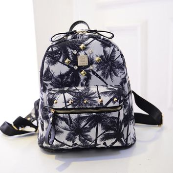 Black Studded Palm Tree Printed Canvas Backpack Travel Bag