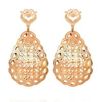 MLOVES Women's 14k Rose Gold Classical Teardrop Earrings