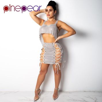 PinePear Glitter Sequin Dress 2019 Winter Women Lace Up Bodycon Bandage Dress Sexy 2 Piece Set Party Club Vestidos