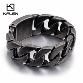 Kalen Matte Bike Chain Bracelets For Men 25mm Width Chunky Heavy Stainless Steel Brushed Black Link Chain Bracelet Male Jewelry