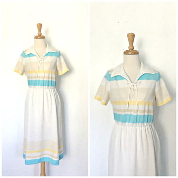 1970s Dress - shift dress - preppy - resort wear - Toby George - knee length -sheath - spring dress -  casual day dress - M