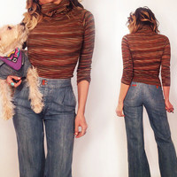 Vintage 1970's Striped Bohemian Turtle Neck Top || Size XS S Extra Small to Small