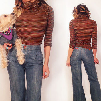 Vintage 1970's Striped Bohemian Turtle Neck Top    Size XS S Extra Small to Small
