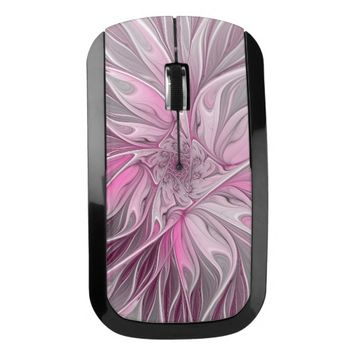 Fractal Pink Flower Dream, Floral Fantasy Pattern Wireless Mouse