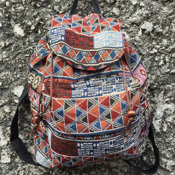 Festival Backpack Tribal Boho southwestern Hill tribe Styles Hmong Woven fabric Ethnic ikat design Overnight travel bag Hippies folk orange