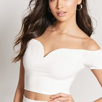 Heathered Off-the-Shoulder Crop Top