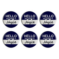 Jayce Hello My Name Is Plastic Resin Button Set of 6