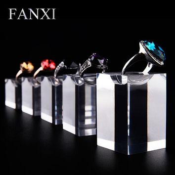 FANXI Delicate Fine Ring Display Holder Stand Set High Transparency Acrylic Jewelry Display Prop 5pcs Exhibitor