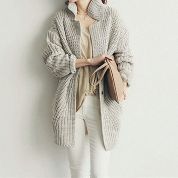 Fashion Solid Color Knit Loose Thickened Long Sleeve Cardigan Jacket